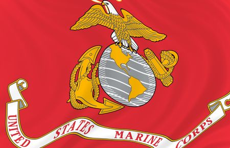 Illustration of United States Marine Corps  flag waving in the wind (see more other flags in my collection) illustration