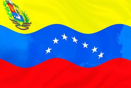 Illustration of Venezuela over sky, flag waving in the wind illustration