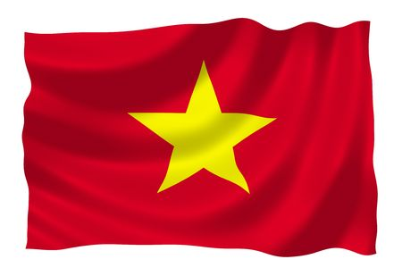Illustration of Vietnam flag waving in the wind 版權商用圖片