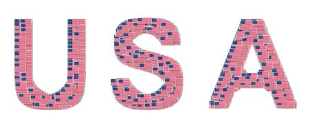 president of the usa: Word USA made from USA flags,illustration