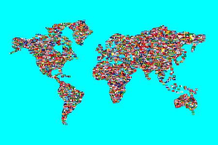 Illustration of Wolrd Map made  from Wolrd Flags Stock Illustration - 6763832