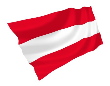 teutonic: Official Flag of Austria waving in the wind, illustration