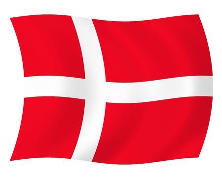 Illustration of Denmark flag waving in the wind Stock Photo