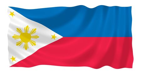 oceania: Illustration of  Philippines flag waving in the wind
