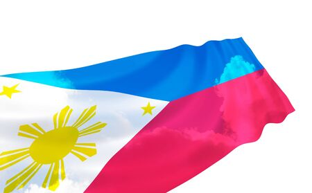 oceania: Illustration of  Philippines flag over the sky, waving in the wind