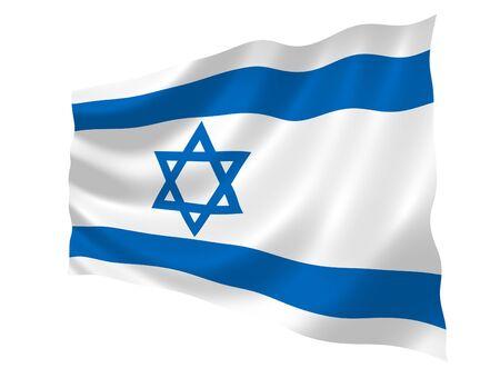 Illustration of Israel flag waving in the wind Banco de Imagens