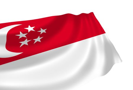 Illustration of Singapore flag waving in the wind Editorial
