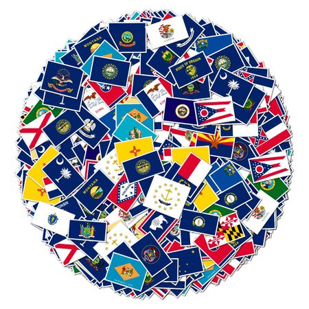 The flags of all fifty US states, collage, on white isolated   photo