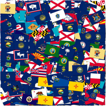 The flags of US states, collage photo