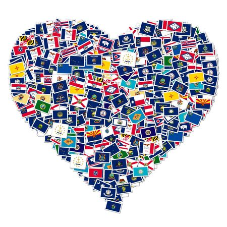 Heart made from US States Flags photo