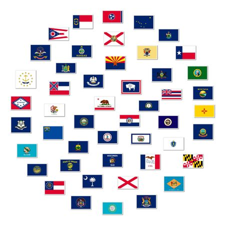 The flags of US states, collage Stock Photo