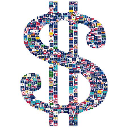 Dollar sign made from US States flags photo