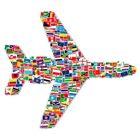 llustration of airplane made from World flags Banque d'images