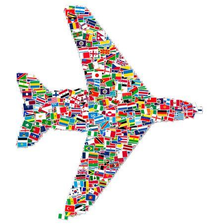 Llustration de avión de banderas del mundo  Foto de archivo - 6841282