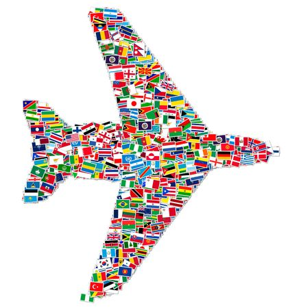 llustration of airplane made from World flags Stok Fotoğraf