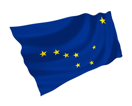 signifier: Illustration of Allaska state flag waving in the wind (see more other flags in my collection)
