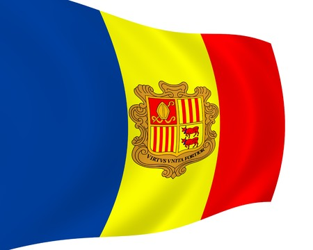 signifier: Flag of Andorra, waving in the wind Stock Photo