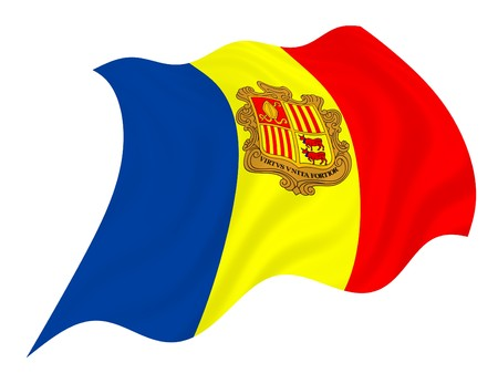 anthem: Flag of Andorra, waving in the wind Stock Photo