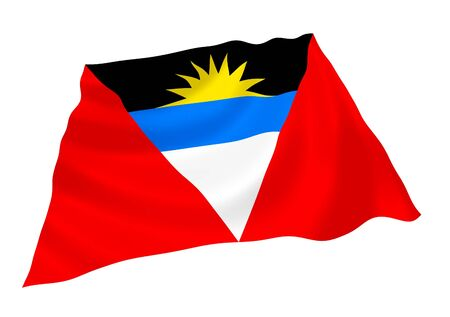 antigua: Flag of Antigua and Barbuda waving in the wind