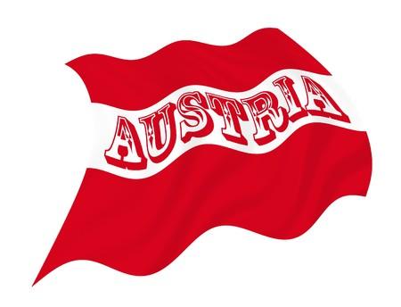 オーストリアの旗が風になびかせてのイラスト