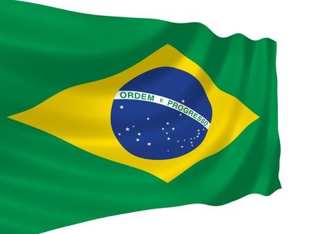Illustratie van de Braziliaanse vlag wappert in de wind
