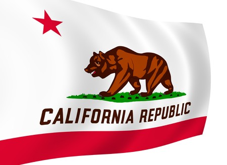 Illustration of flag of California state waving in the wind (see more other flags in my collection) illustration