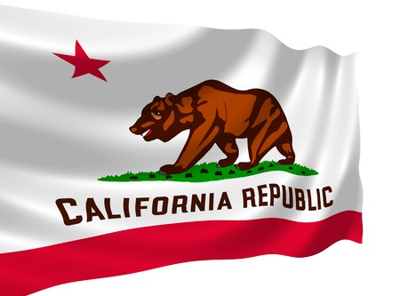 Illustration of flag of California state waving in the wind (see more other flags in my collection)