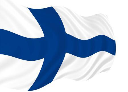 Illustration of Finland flag waving in the wind 版權商用圖片