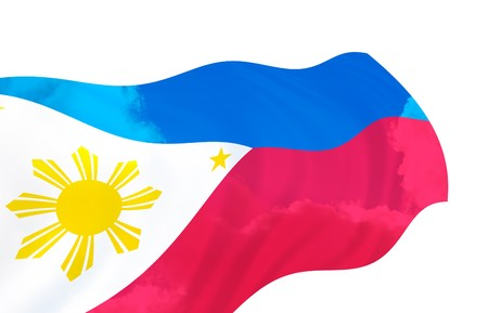 Illustration of  Philippines flag over the sky, waving in the wind