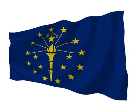 pinboard: Illustration of Indiana state flag waving in the wind
