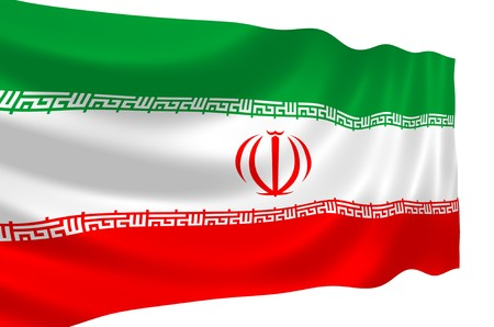 Illustration of Iranian flag waving in the wind