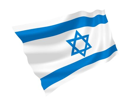 Illustration of Israel flag waving in the wind illustration
