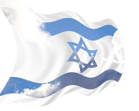 Illustration of Israel flag waving in the wind over cloudy sky