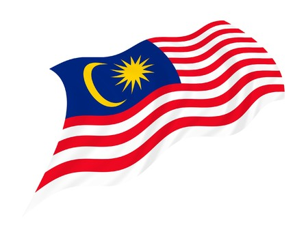 Illustration of Malaysia flag waving in the wind