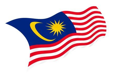 Illustratie van Maleisië vlag wappert in de wind Stockfoto - 7052446