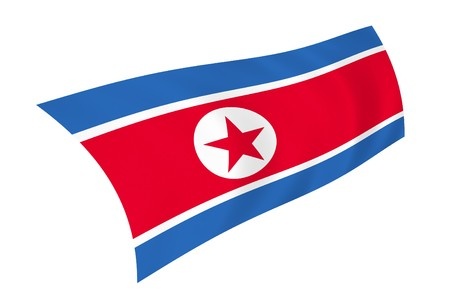 Illustration of North Korea flag waving in the wind