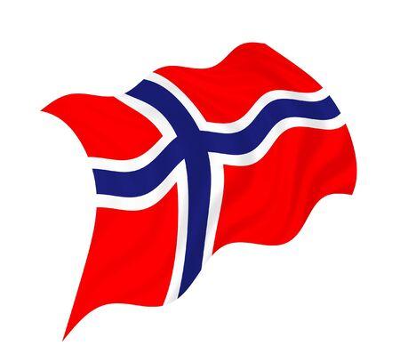바람에 물결 치는 노르웨이 국기의 그림