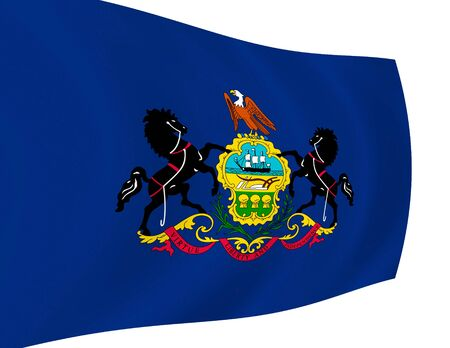 Illustration of  Pennsylvania State flag waving in the wind