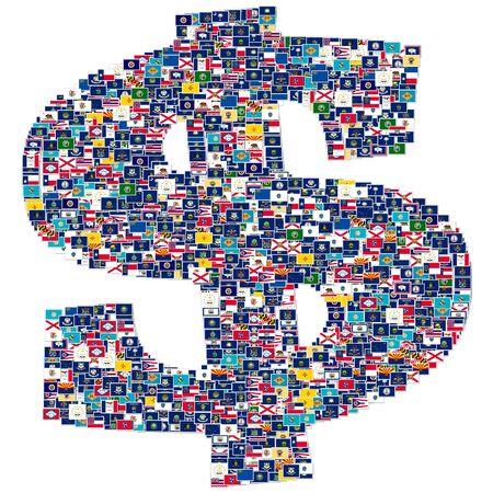 Dollar sign made from US States flags Stock Photo