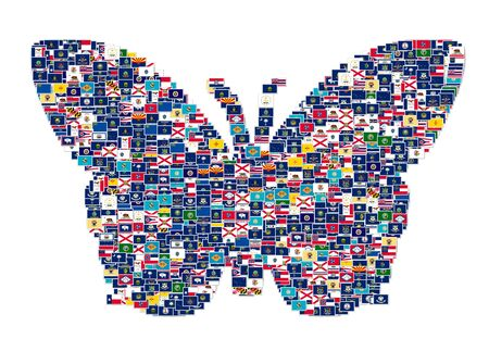 north american butterflies: Butterfly made from US States Flags, collage Stock Photo