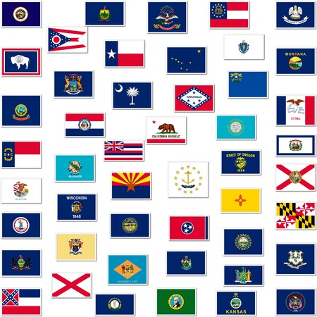 american states: The flags of US states, collage Stock Photo
