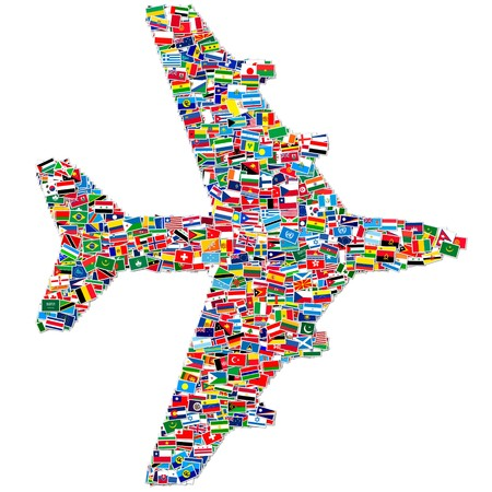 all european flags: llustration of airplane made from World flags Stock Photo