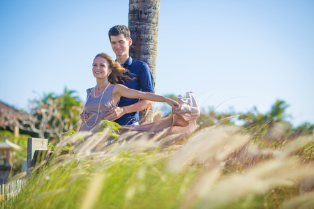 Young Happy Wedding Couple at Sunny Day photo