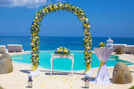 Wedding Ceremony settings at the Tropical Coast Stock Photo