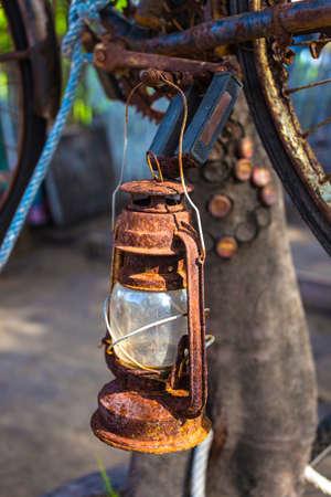 kerosene lamp: Vintage Old Kerosene Lamp outdoors Stock Photo