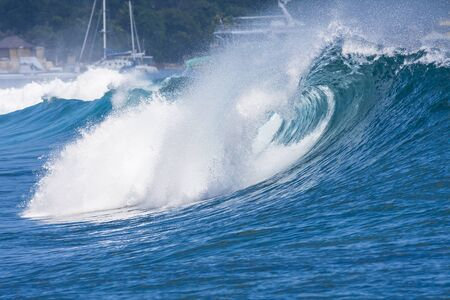 epic: Epic Ocean Blue Wave near Lembongan island,Indonesia. Stock Photo