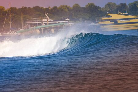 shorebreak: Epic Ocean Blue Wave near Lembongan island,Indonesia. Stock Photo