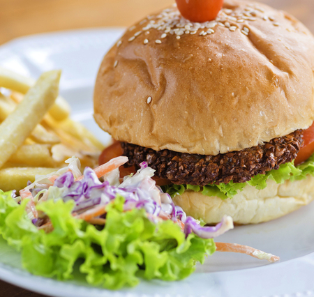 Falafel Burger on a Wooden table  Stock Photo