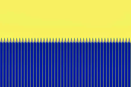 Pattern of blue pencils at yellow background