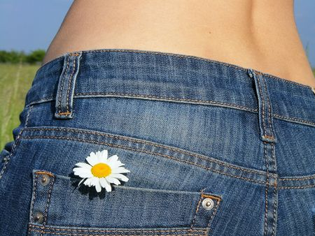 Jeans pocket with flower
